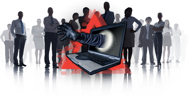Silhouette of people with red warning symbol and hacker hand reaching through laptop screen