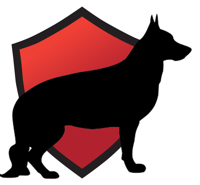 silhouette of german shepard over a red shield emblem